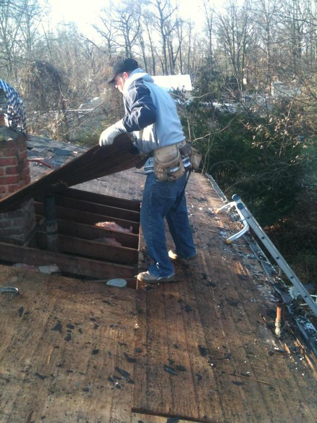 Replacing rotted plywood on existing roof.